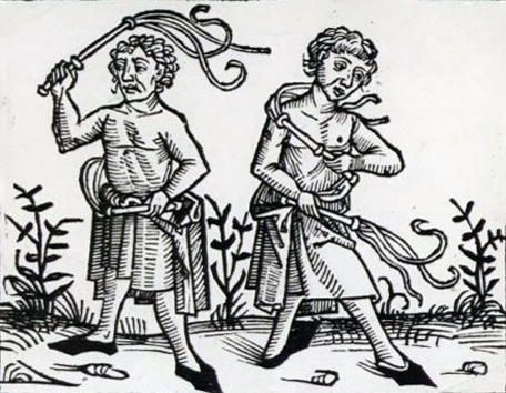 Flagellants whipping themselves